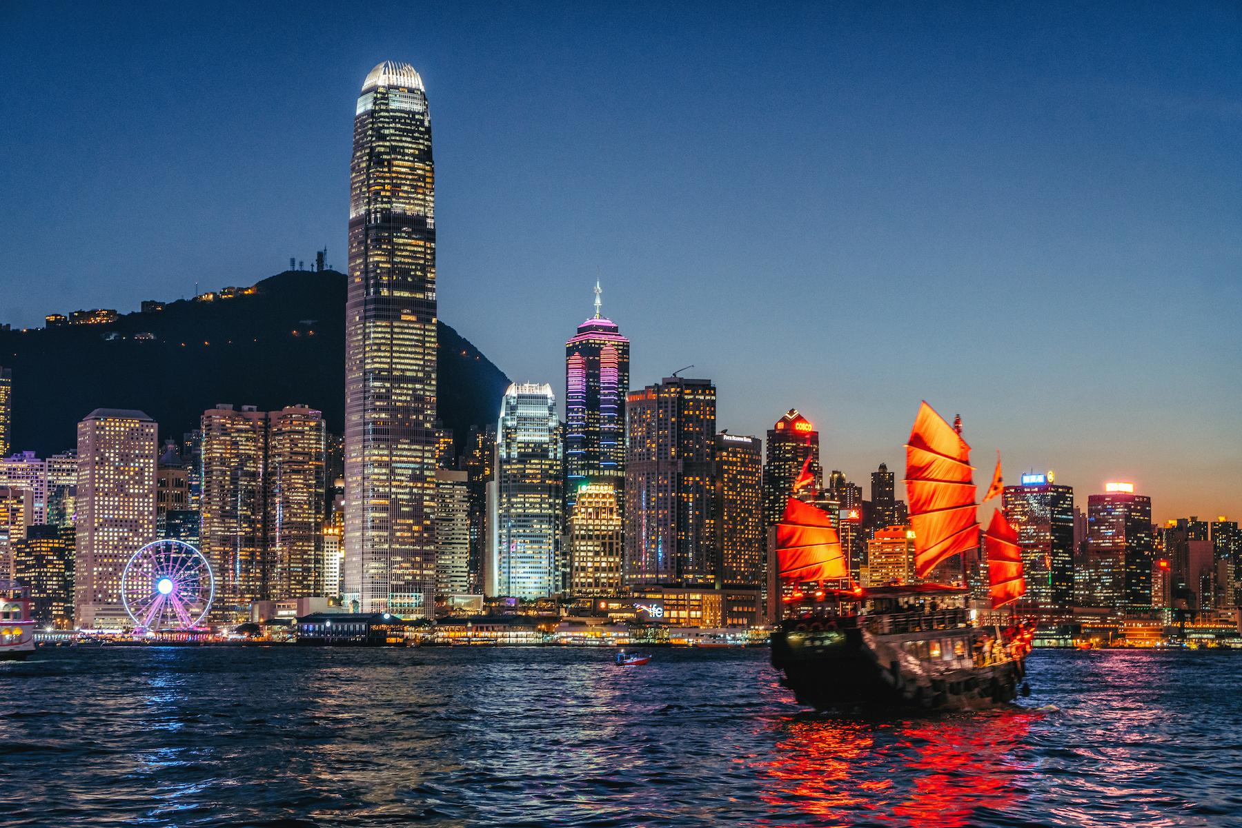 Cityscape Hong Kong and Junkboat at Twilight